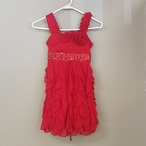 Girls red dress with ruffled skirt and sequin band